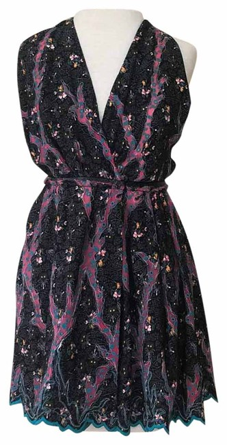 Item - Black Pink Teal Short Night Out Dress Size 6 (S)