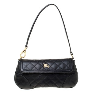 Burberry Front Flap Quilted Leather Nylon Black Clutch