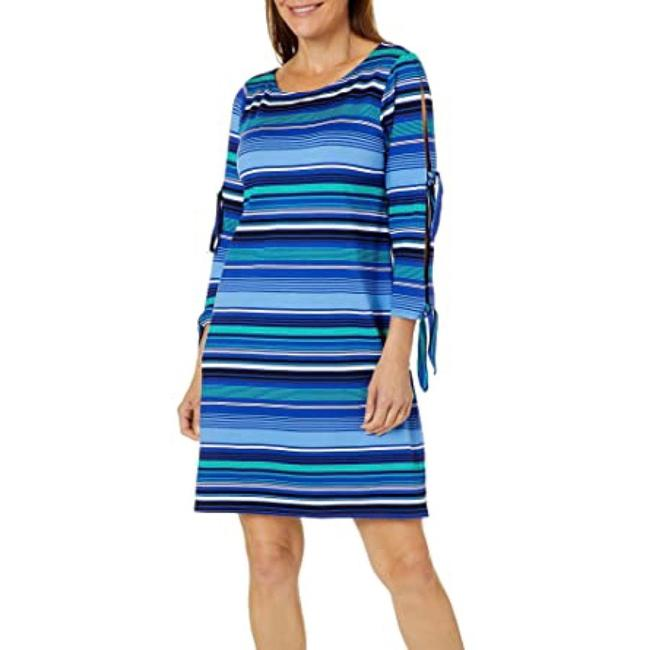 Item - Blue Womens Striped Slit Sleeve Shift Mid-length Night Out Dress Size 6 (S)