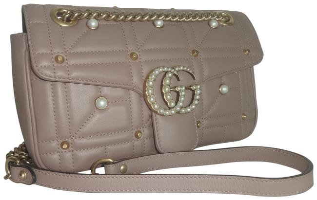Item - Flap Marmont Gg Pearl Small Nude Leather Shoulder Bag