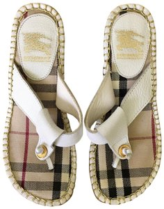Burberry White Tan Wedges