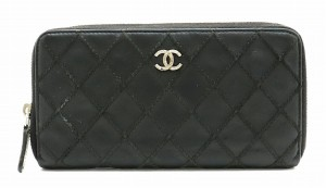 Chanel CHANEL Wild Stitch Round Zipper Wallet Long Coco Mark Leather Black Silver Hardware A80143