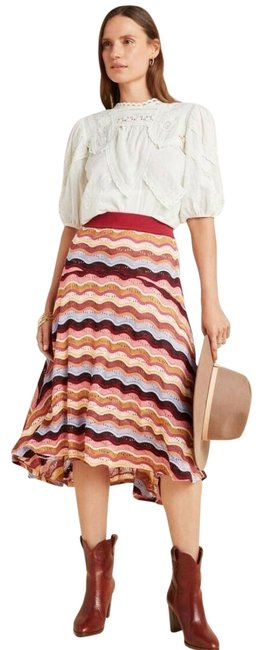 Item - New Red Motif Cecilia Prado Striped High-low Striped Tiered Asymmetrical Skirt Size 6 (S, 28)