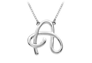 LoveBrightJewelry White Plain Letter A Script Pendant 925 Sterling Silver Necklace
