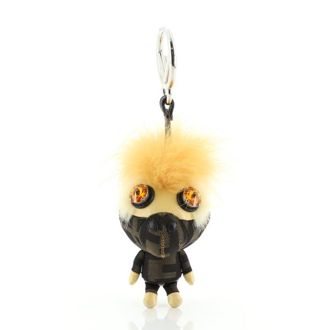 Item - Brown Yellow Space Monkey Bag Charm Zucca Canvas with Leather and Fur