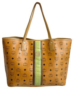 MCM Shopper Coated Canvas Tote in Cognac