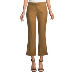 N°21 Flared Pleated Cropped Pockets Ankle Trouser Pants Khaki
