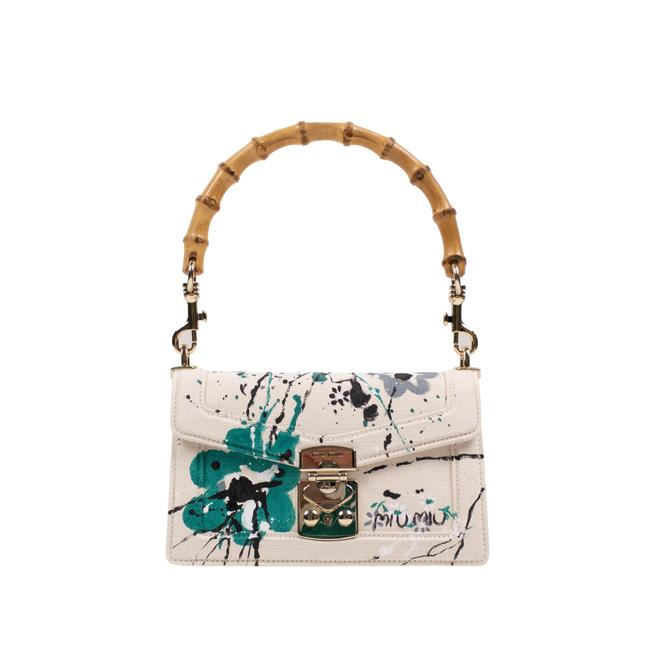 Item - Canvas Printed Bamboo Top Handle White Cotton Shoulder Bag