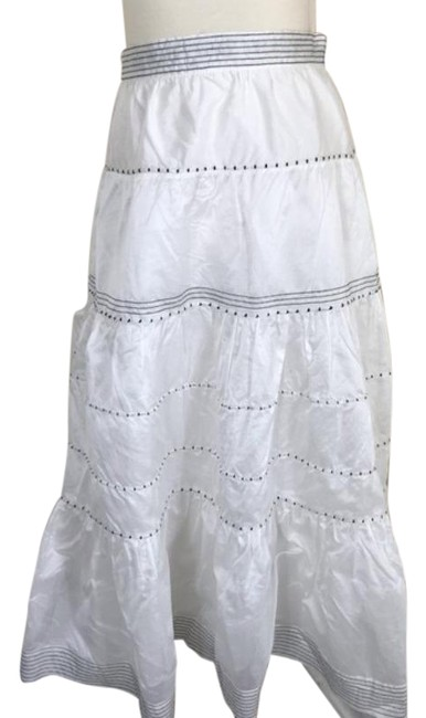 Item - White Tiered Silk Blend Skirt Size 10 (M, 31)