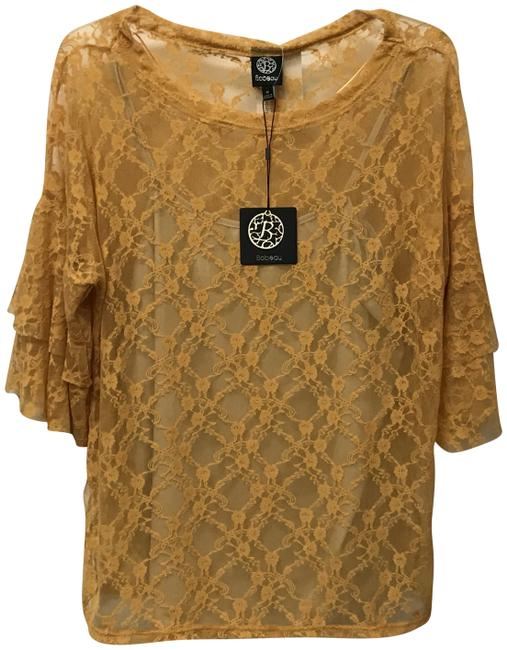 Item - Gold Sheer Lace Overlay Blouse Size 8 (M)