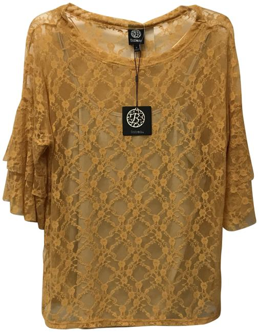 Item - Gold Sheer Lace Overlay Blouse Size 4 (S)