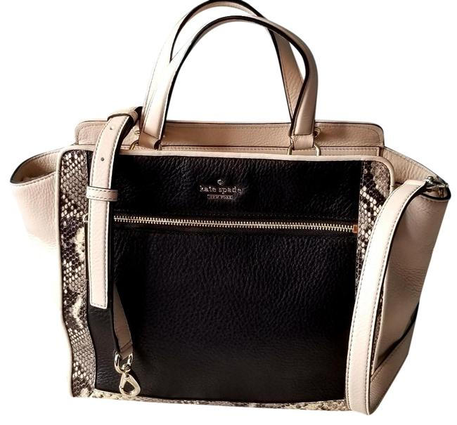 Item - Chatham Lane Hayden Cream and Black with Snakeskin Trim Beige Leather Tote