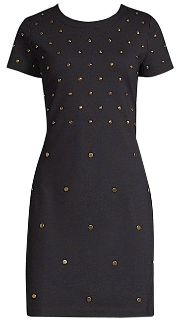 Item - Black/Gold with Tag Stud Sheath Short Night Out Dress Size Petite 8 (M)