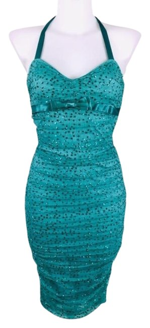 Item - Green Blue Aqua Sequin Silk Mid-length Cocktail Dress Size 4 (S)