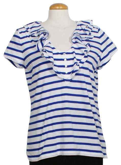 Item - White Blue XL Striped Cotton Knit Ruffle Neck Blouse Size 18 (XL, Plus 0x)