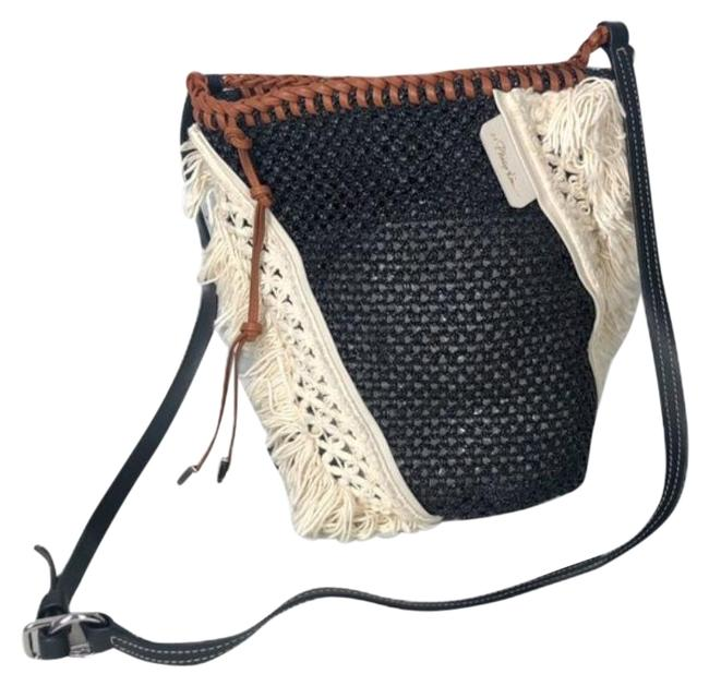 Item - Shoulder Marlee Mini Macramé-paneled Woven Cream Black Leather Cross Body Bag