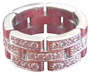 Cartier Cartier 18Kt Maillon Panthere Half Diamond White Gold 3-Row Band Ring