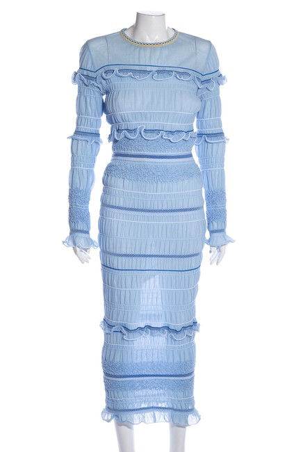 Item - Blue & White Striped Gathered Long Cocktail Dress Size 6 (S)