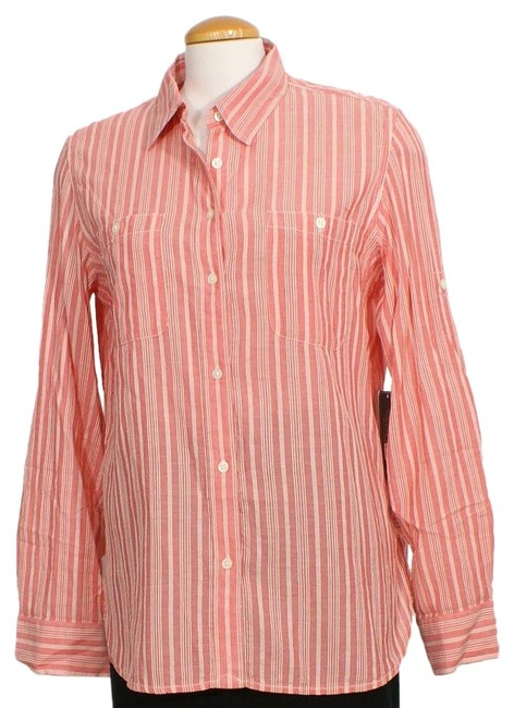 Item - Red Cream L Textured Stripe Roll Tab Sleeve Shirt Button-down Top Size 14 (L)