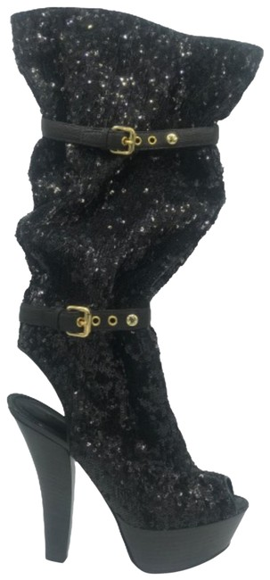 Item - Black Runway Limited Edition Leather Buckle Sequin Platform Open Boots/Booties Size EU 36 (Approx. US 6) Regular (M, B)