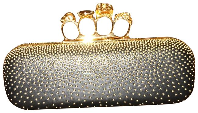 Item - Studded Four Ring Gold Hardware Black Leather Clutch