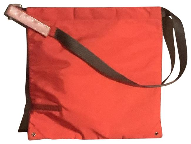 Item - Vintage Pouch Bright Orange and Grey Handle Nylon Baguette