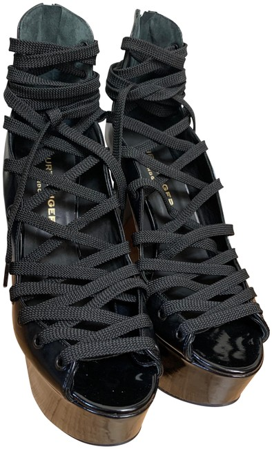 Item - Black Patent Leather Lace Up Wedges Size EU 40 (Approx. US 10) Regular (M, B)