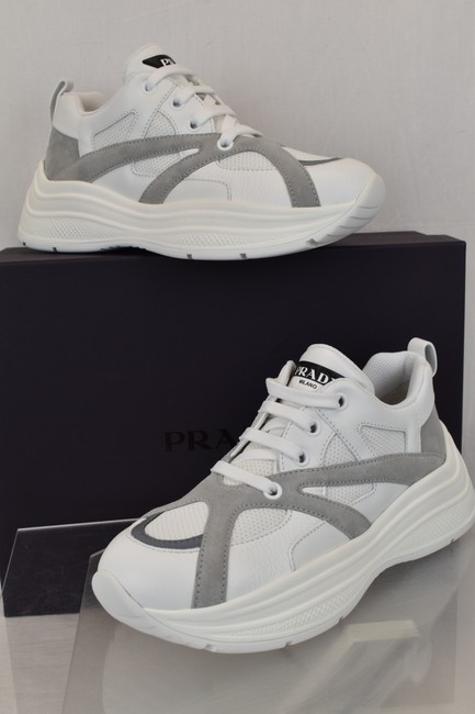 Item - White 4e3490 Leather Gray Suede Platform Sneakers 7.5 / Us 8.5 Italy Shoes