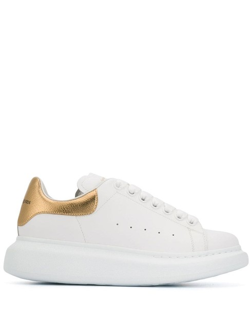 Item - White and Gold Eu37.5/Us7.5 Leather Oversized Sneakers Size EU 37.5 (Approx. US 7.5) Regular (M, B)