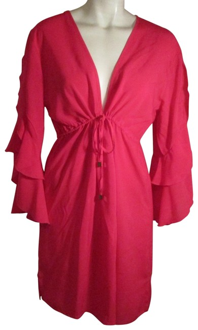 Item - Hot Pink Ruffled 3/4 Sleeve Beach Dress Cover-up/Sarong Size 12 (L)