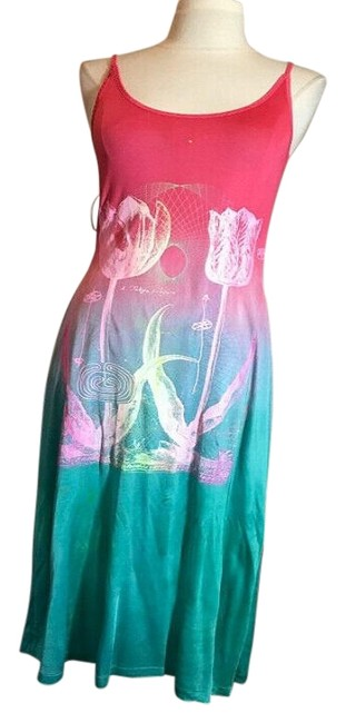 Item - Pink and Green Jersey Flower Silk Long Casual Maxi Dress Size OS (one size)