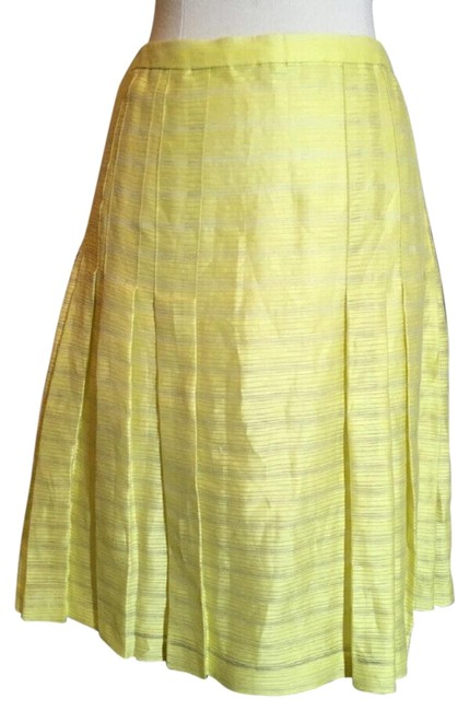 Item - Yellow Silk Pleated Striped Summer Skirt Size 6 (S, 28)
