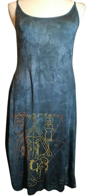Item - Blue Jersey Gold Silk Long Casual Maxi Dress Size OS (one size)