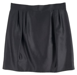 Andrew Gn Satin Pleated Cocktail Bubble Hem Hidden Zip Mini Skirt Black