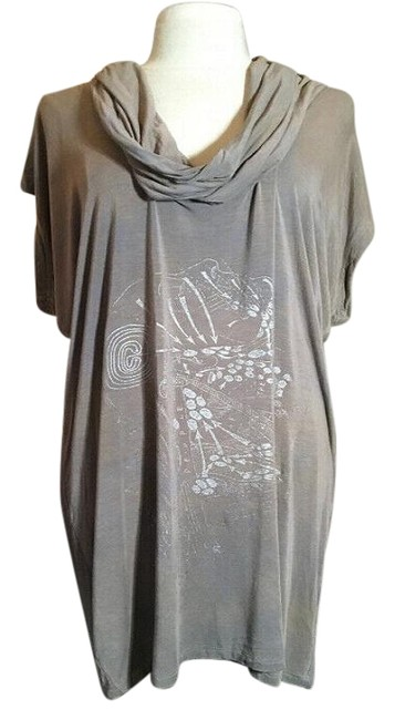 Item - Taupe Jersey Brown Silver Abstract Mid-length Short Casual Dress Size 4 (S)