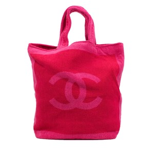 Chanel Summer Reversible Tote Logo Pink Beach Bag