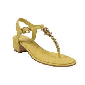 Chanel Quilted Leather Logo Chain Gold Hardware Yellow Sandals