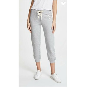 David Lerner Distressed Lace Up Jogger Cropped Casual Athletic Pants Gray