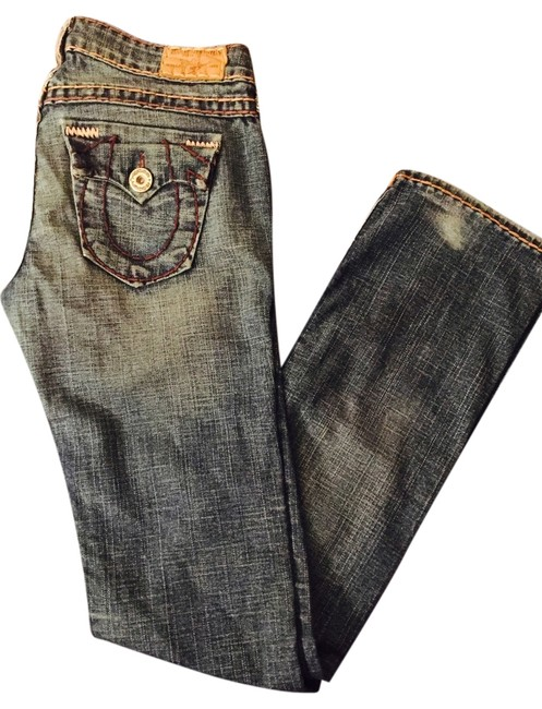 Item - Blue with Brown & Tan Super T Stitching Medium Wash Billy Straight Leg Jeans Size 28 (4, S)
