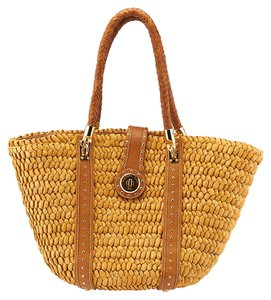 Michael by Michael Kors Santorini Straw Leather Tote in Tan