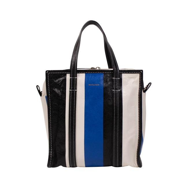 Item - Top Handle Small Black/Blue Lambskin Leather Tote