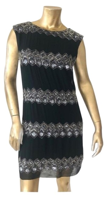Item - Black and Silver Beaded Sequin Open Short Cocktail Dress Size 6 (S)
