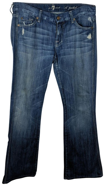 Item - Blue Distressed Flare Leg Jeans Size 31 (6, M)