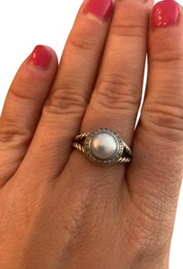 David Yurman Pearl Ring with Diamonds