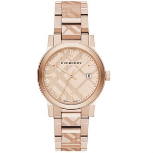 Burberry Burberry Rose Gold Women Check Stamp Stainless Steel Link Bu9039 Watch