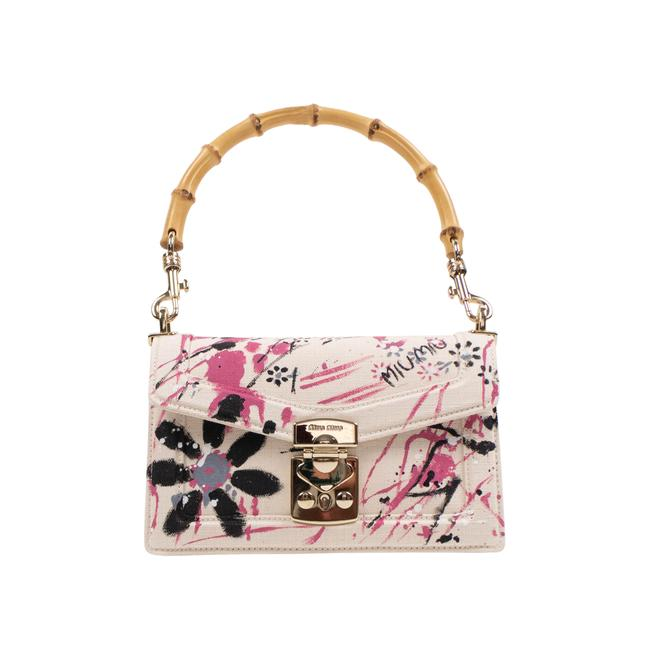 Item - Canvas Pink Floral Printed Bamboo Top Handle White Cotton Shoulder Bag