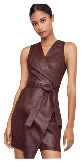 Item - Brown Layla Asymmetrical Pleather (4-6) Night Out Dress Size 4 (S)