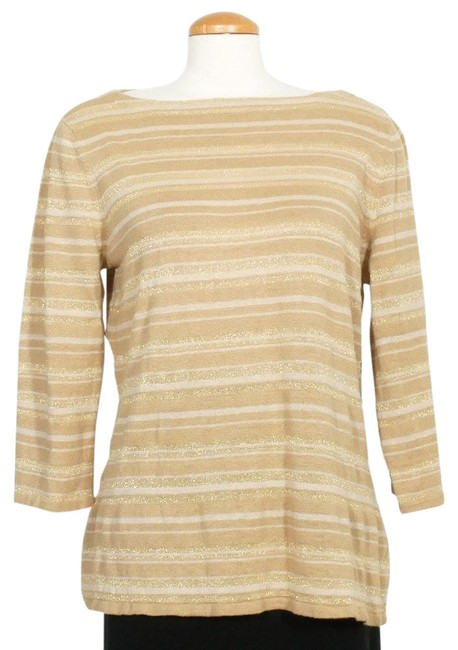 Item - XL Linen Silk Knit Khaki Gold Metallic Sweater
