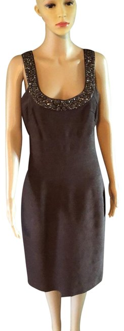 Item - Brown Kneelength Sparkly Mid-length Night Out Dress Size 12 (L)