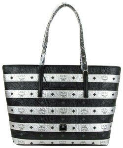 MCM Colorblock Coated Canvas Tote in Black/Silver
